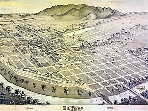 El Paso, Texas in 1886. Bird's Eye View of El ...
