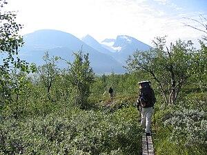 Wandern auf dem nördlichen Padjelantaleden mit dem Akkamassiv im Hintergrund