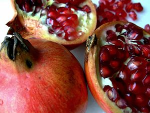 English: Close-up of Pomegranates on a table.