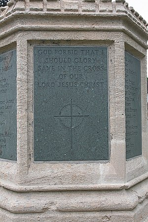 English: Prestbury war memorial - northern fac...