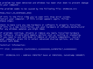 Blue Screen of Death as seen in XP, Vista and 7