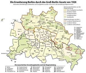 Deutsch: Karte: Die Erweiterung Berlins durch ...