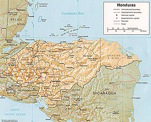 Shaded relief map of Honduras, in year 1985, s...