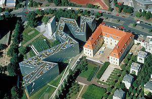 An aerial view of the museum proper, the Holoc...