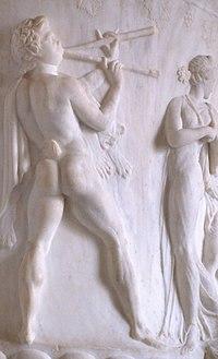 Авлет, играющий на двуствольном авлосе. Деталь вазы, 40-30 гг. до н.э. Лувр (Париж)