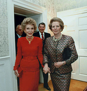 English: Margaret Thatcher and Nancy Reagan at...