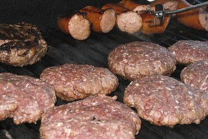 Pieces of meat on a barbecue.