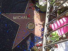 "A pink star with the writing ""Michael Jackson"" and a gold colored rim. The star is surrounded by a metal silver colored barrier and flowers. There are also blue confetti and pink rose bud pedals on top of the star."