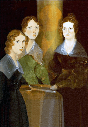A painting of the three Brontë sisters; from l...