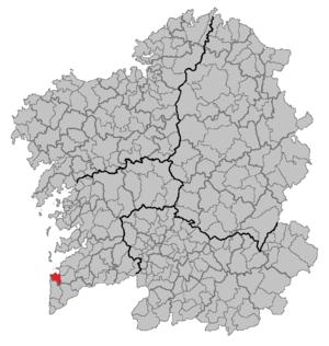 Mapa coa localización do concello de Baiona.