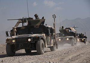 Afghan National Army (ANA) doing a route clear...
