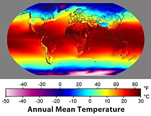 Map of annual average temperatures as a functi...