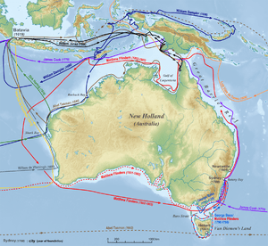 Map of Australia with coloured arrows showing the path of early explorers around the coast of Australia and surrounding islands