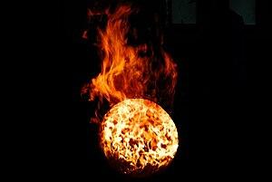 Barrel burning, Hakushu distillery, Japan