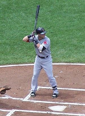English: Dustin Pedroia bats against the Balti...