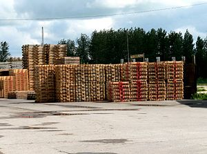 English: Pallets. Sawmill by the Great West Wo...