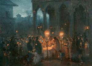 The Resurrection Mass in Stavropoleos, oil on ...
