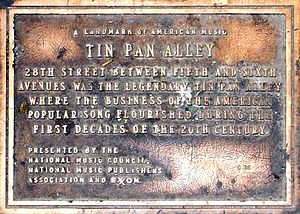 Plaque for Tin Pan Alley in New York. The plaq...