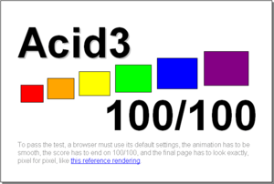 The results of the Acid3 test on Google Chrome 4.0