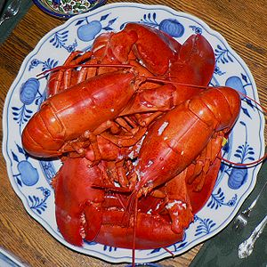 Boiled Lobster dish served for the photographe...