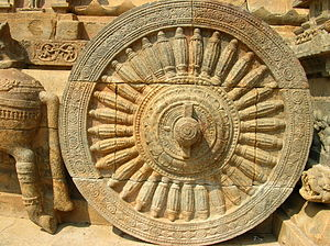 English: Spoked wheel of chariot at Airavatesw...