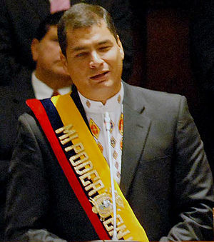 Rafael Correa during his inaugural speech as p...
