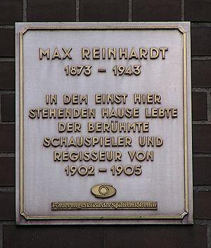 Gedenktafel für Max Reinhardt. Fontanestr. 8, ...