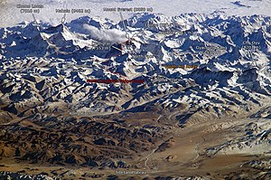 The Himalayan mountain range with Mount Everes...