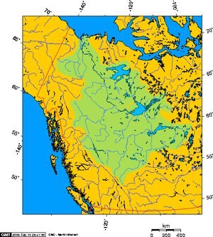 Approximate extent of the Mackenzie River wate...