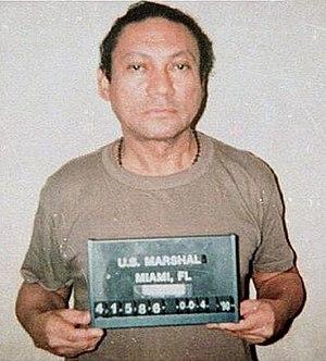 Mug shot of Manuel Noriega.