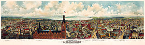 Panorama map of Milwaukee, with a view of the ...