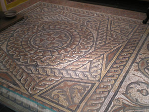 Roman mosaic found in London, Museum of London