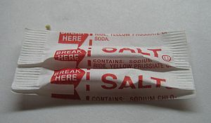 Single-serving salt packets.