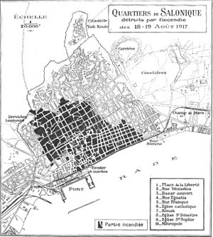 Map of Thessaloniki during the Great Fire - 1917