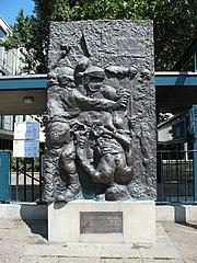 Relief Der Tod des Demonstranten (The Death of the Demonstrator) by Alfred Hrdlicka; Location: Deutsche Oper Berlin, forecourt