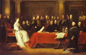 Victoria holding a Privy Council meeting. Sir ...