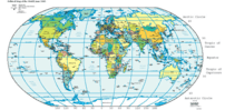 A map of Earth showing lines of latitude (horizontally) and longitude (vertically). The lines are a grid, a method for dividing and containing recorded cartographical data. The land masses and oceans are cartographical data in a raw content (pictorial graphical) format. The text is in an alphanumerical symbolic raw content format.