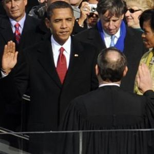 Barack Hussein Obama takes the oath of office ...