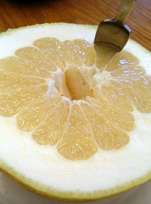 English: A grapefruit from California cut in half