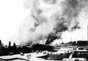 Damascus in flames as the result of the French...