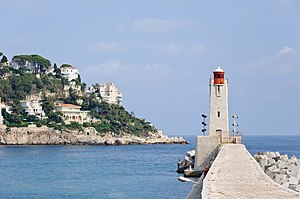 The lighthouse of Nice, on the Mediterranean c...
