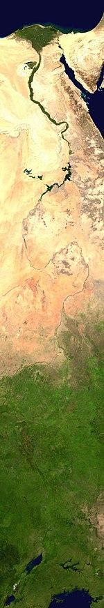 Montagem de imagens de satélite do Nilo (NASA)