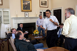 Obama and aides discuss progress on healthcare...