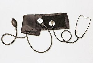 Aneroid sphygmomanometer with stethoscope, use...