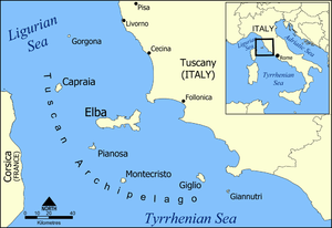 A map of the Tuscan archipelago, including the...