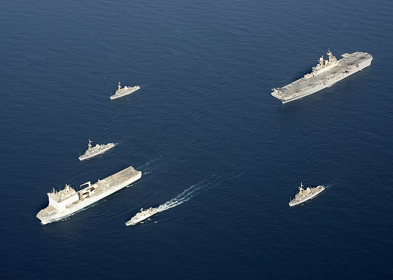 File:US Navy 090905-N-3165S-631 The Royal Navy fleet auxiliary ship Lyme Bay (L 3007) leads a formation of ships.jpg
