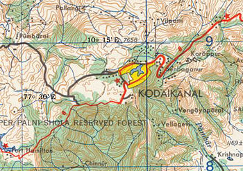 English: Kodaikanal topo map
