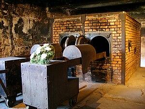 English: Aushwitz I crematoria memorial