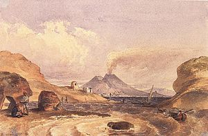 English: Vesuvius Seen from the Island of Capri