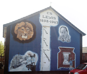 Mural depicting C.S. Lewis and images associat...
